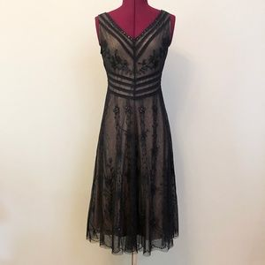 BCBGMaxAzria   Lace Overlay Midi Dress